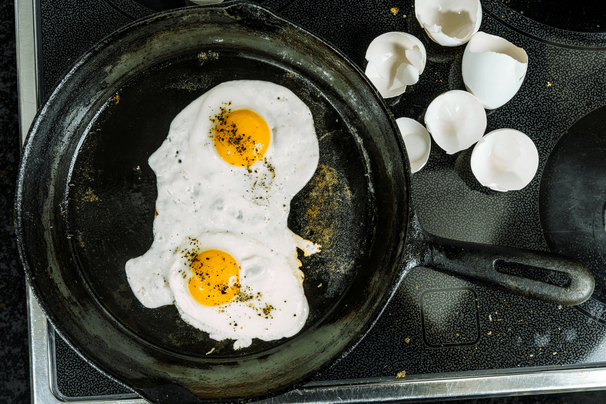 Fried eggs cooking in a pan