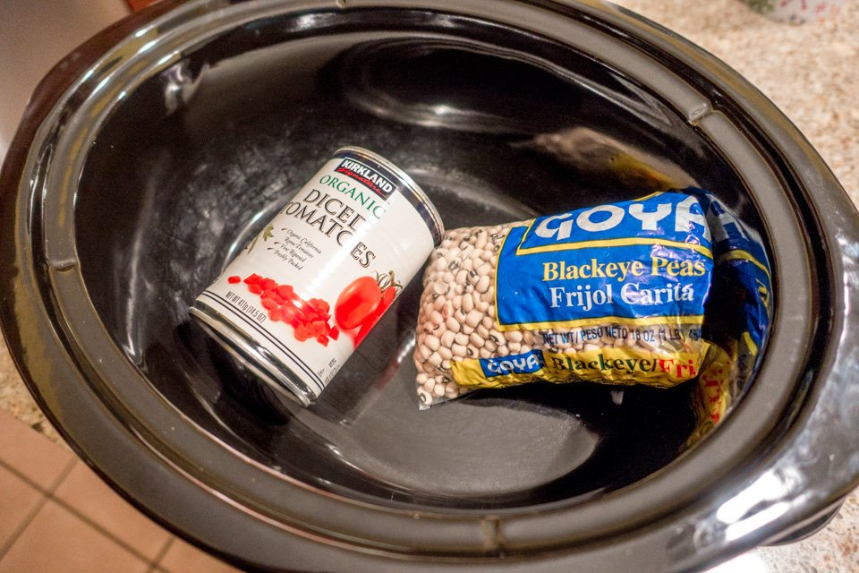Slow-cooker and black-eyed peas