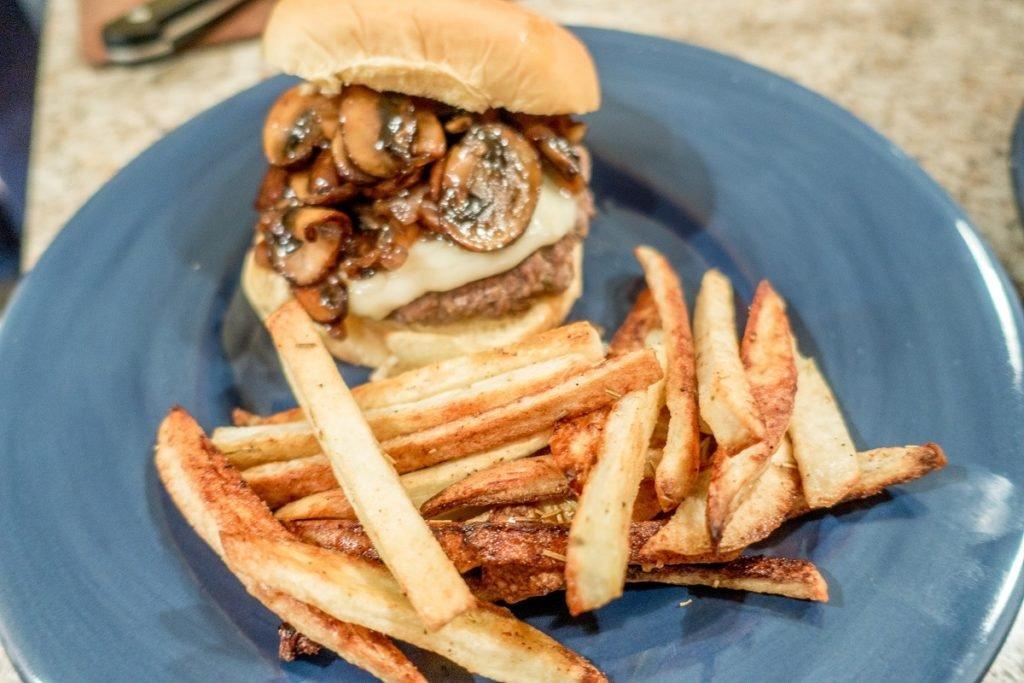 rosemary garlic fries and hamburger