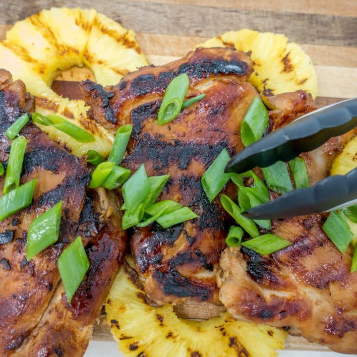 This Hawaiian barbecue recipe includes making BBQ chicken thighs on grill