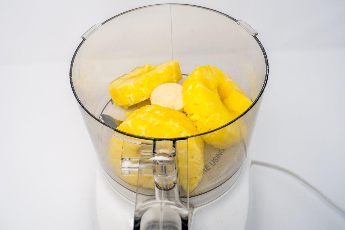 Puree pineapple for the Hawaiian BBQ chicken marinade