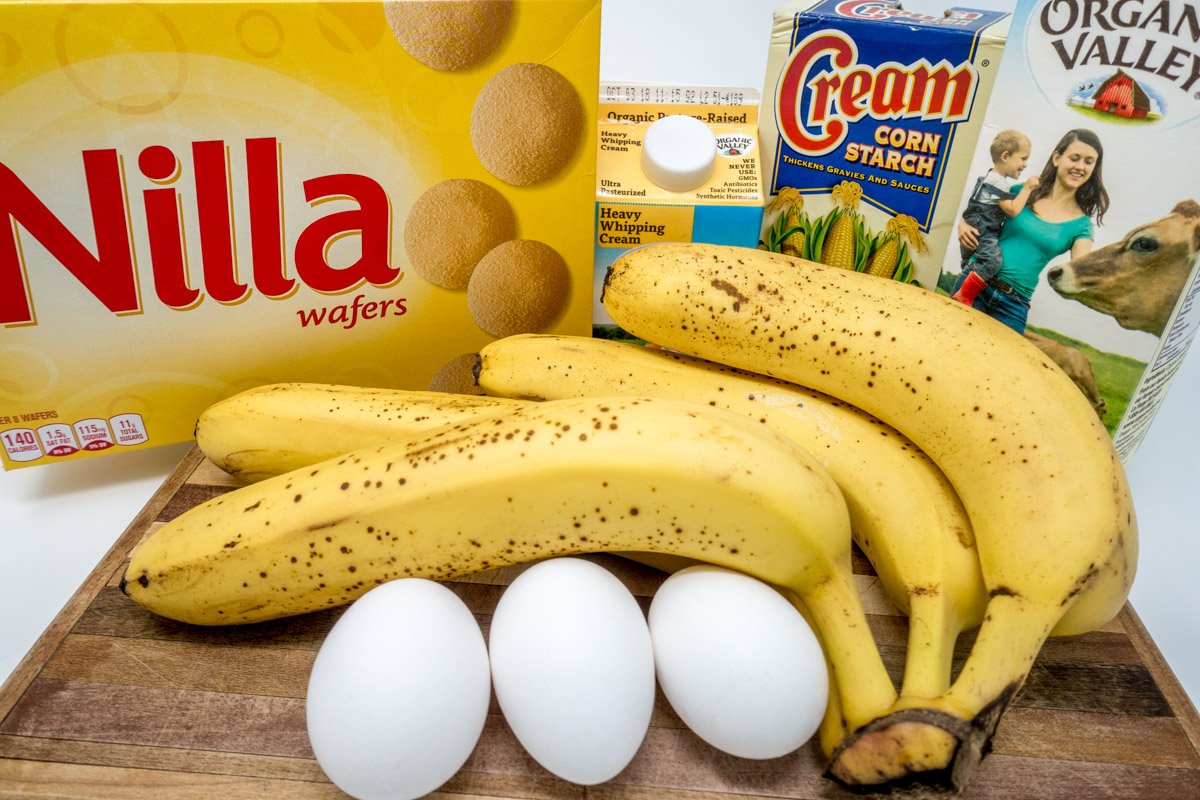 Ingredients for homemade southern banana pudding