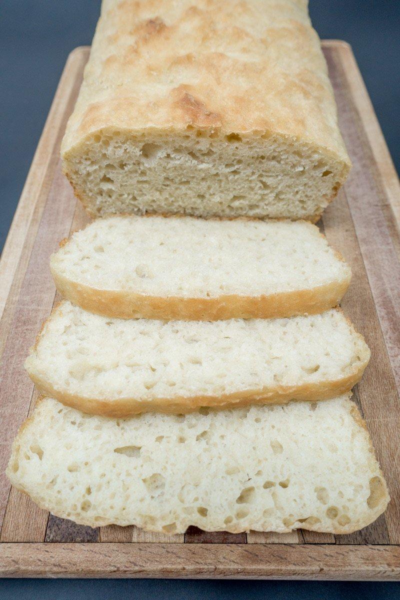 Fabulous, sliced no knead bread recipe