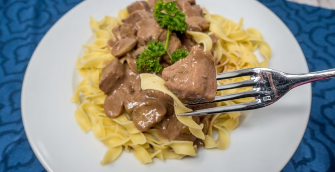 Beef tips and noodle with gravy is an easy comfort food recipe