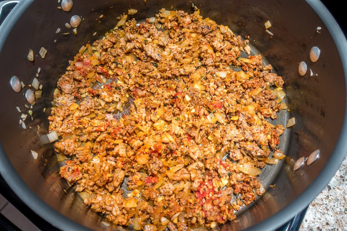 The best lasagna soup includes both sausage and ground beef for excellent depth of flavor
