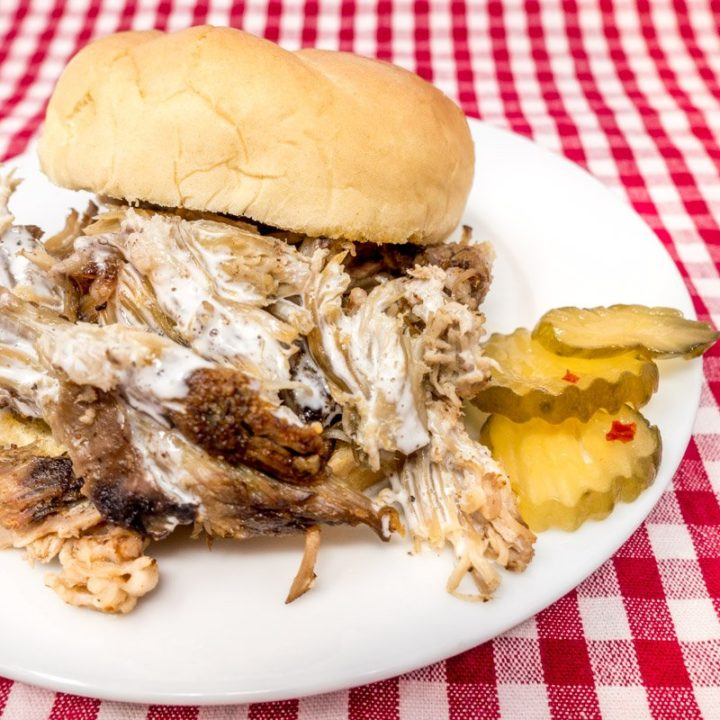 Pulled pork with Alabama white BBQ sauce is a delicious choice for lunch or dinner year-round