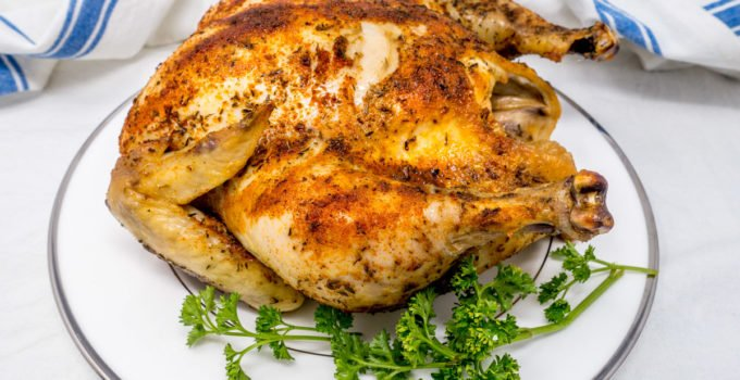Make this simple rotisserie chicken in a Crock Pot for an easy, healthy family meal