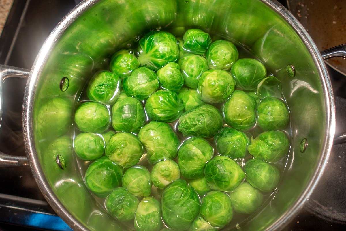 Blanching Brussels sprouts is the first step in this fabulous side dish