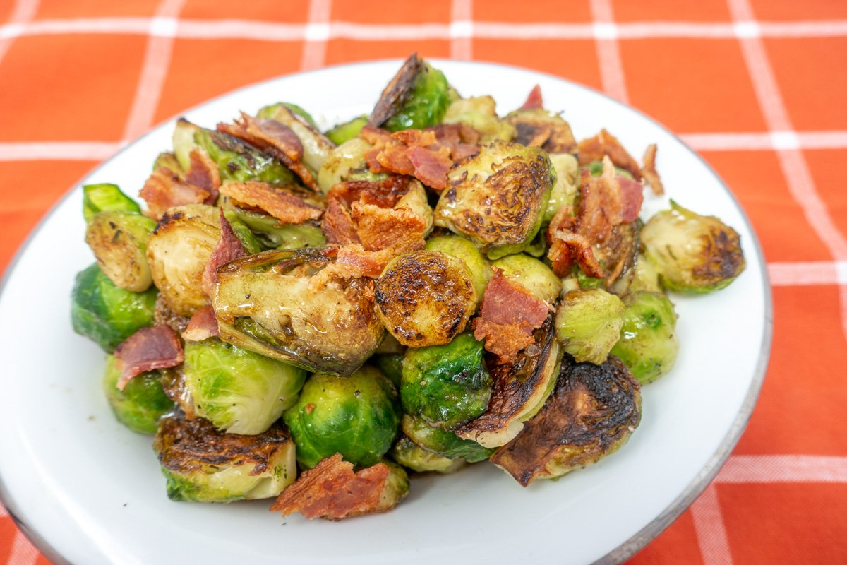 Brussels sprouts with bacon and balsamic vinaigrette makes a perfect side side in any season