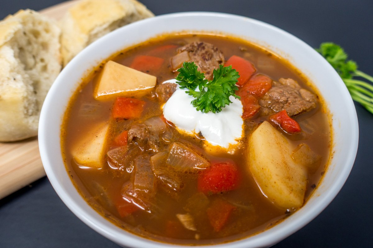German Goulash Soup Gulaschsuppe In A Slow Cooker