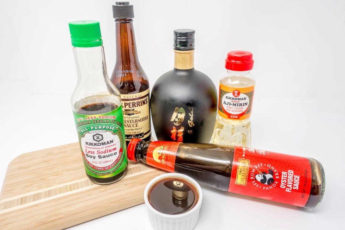 Ingredients for making homemade yakisoba sauce for the tasty Japanese stir-fry
