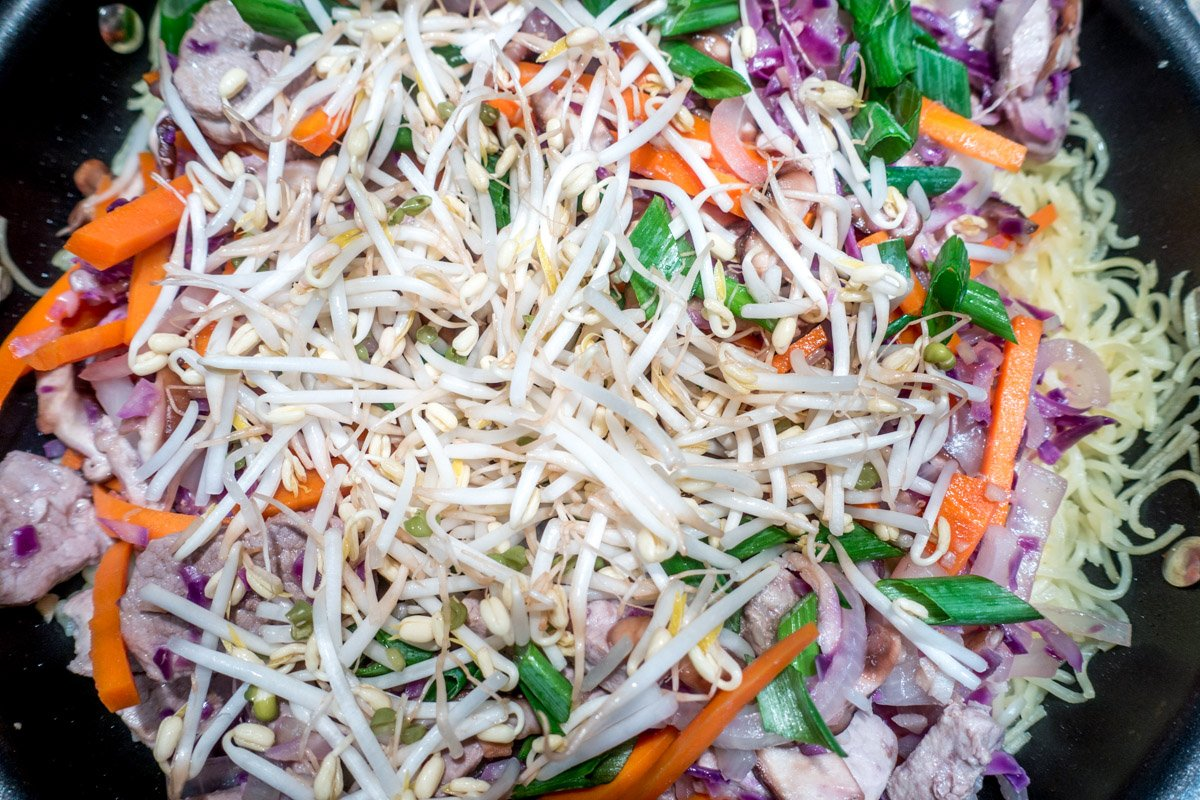 This pork yakisoba stir-fry recipe is loaded with fresh vegetables