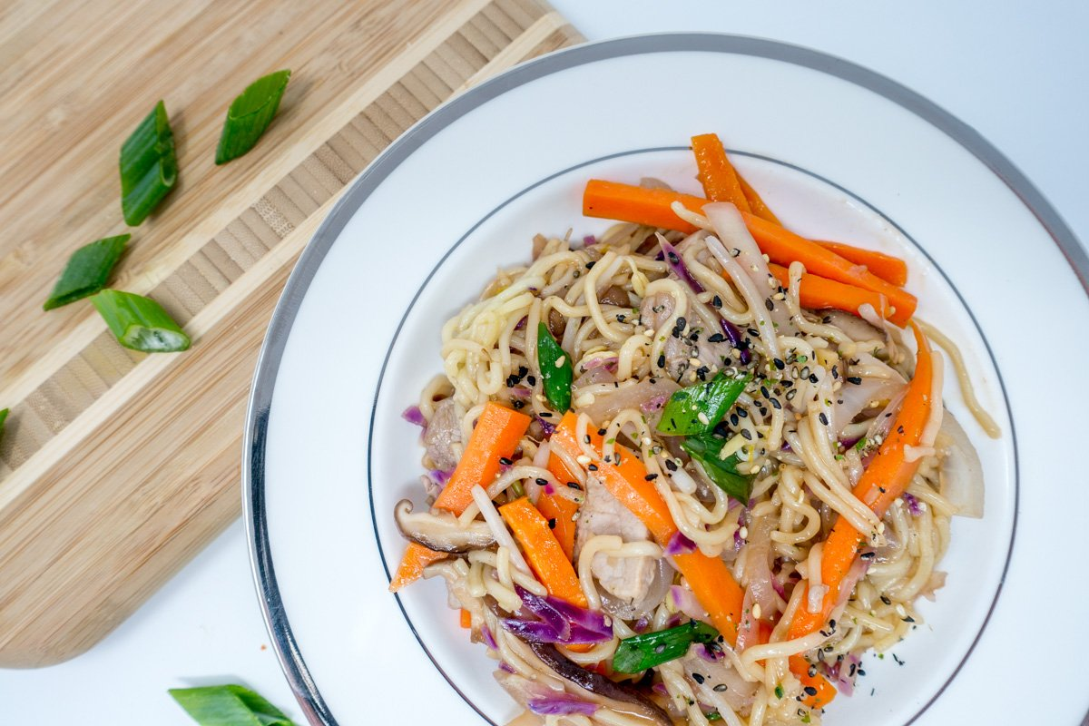 Pork yakisoba loaded with colorful, fresh vegetables
