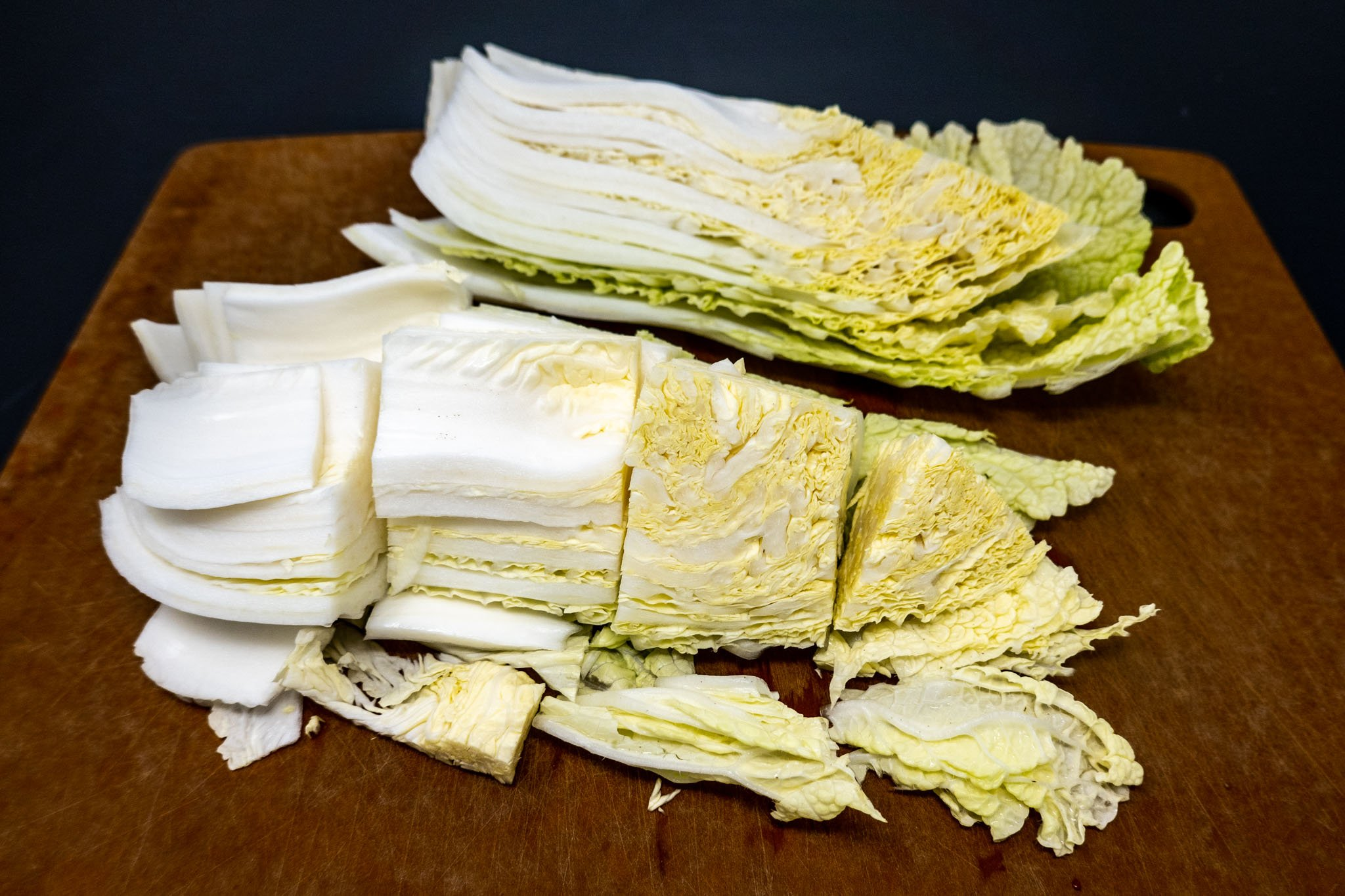 Napa cabbage (aka delicate cabbage) cut in pieces for the baechu kimchi recipe