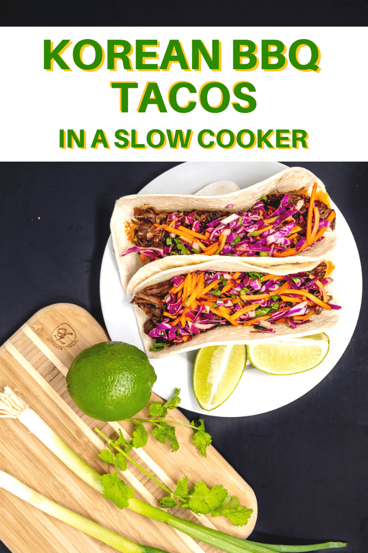 Slow cooker Korean BBQ tacos with Asian slaw