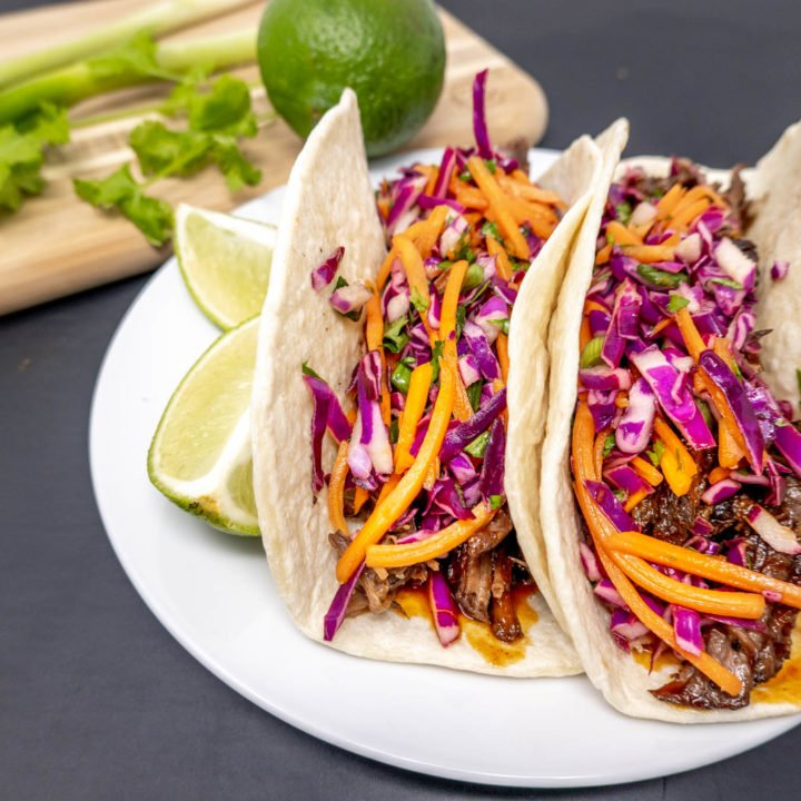 Slow Cooker Korean Beef Tacos with Gochujang BBQ Sauce and Asian Slaw