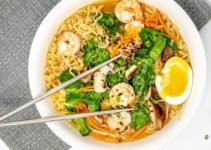 Bowl of spicy ramen with shrimp and egg