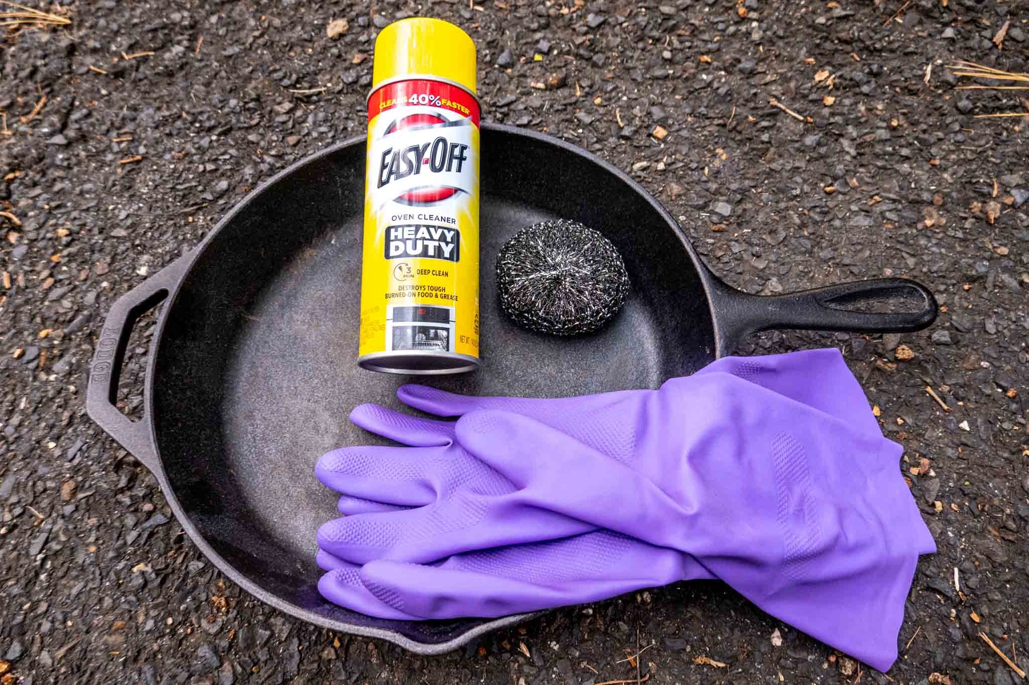 Rubber gloves, steel wool, Easy-Off in cast iron pan