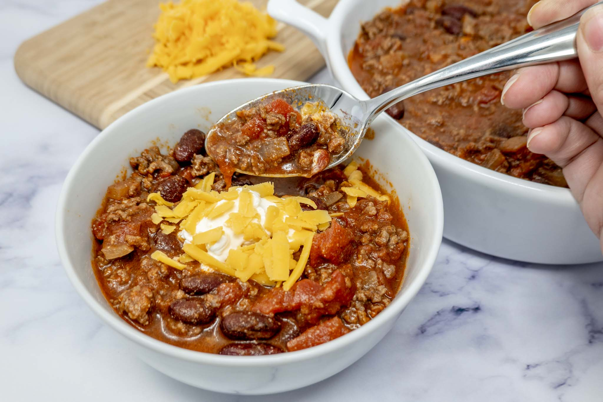 Spoon in a bowl of homemade beef chili