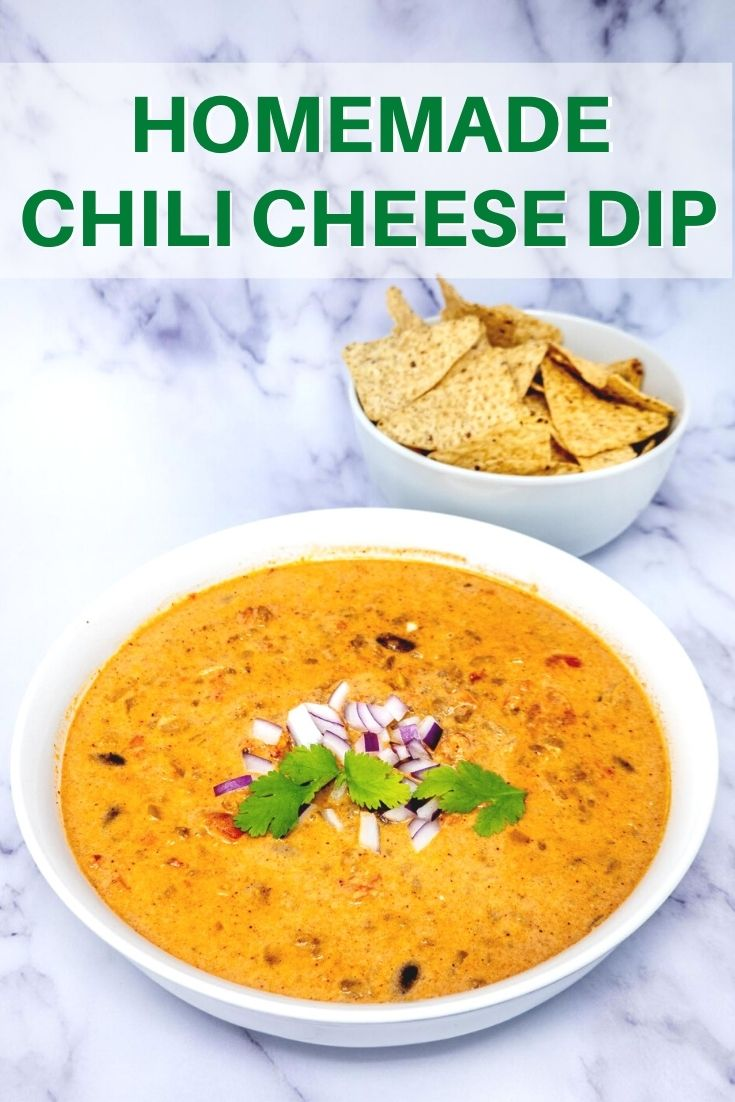 Bowl of homemade chili cheese dip and bowl of tortilla chips