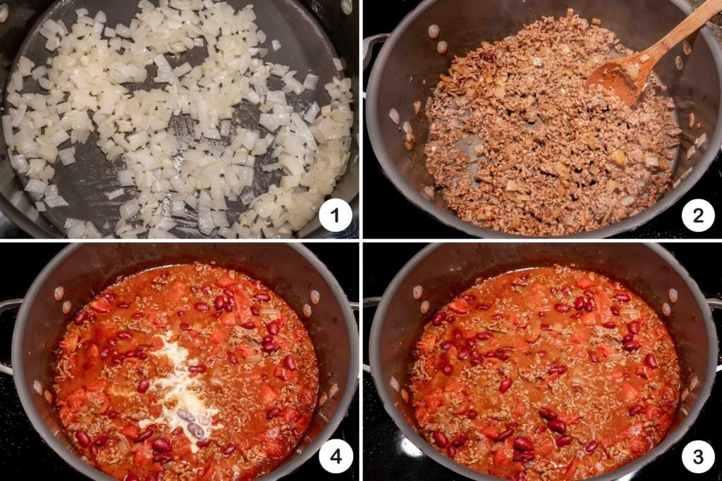 Steps in making homemade chili, including sauteing onions and adding spices and other ingredients