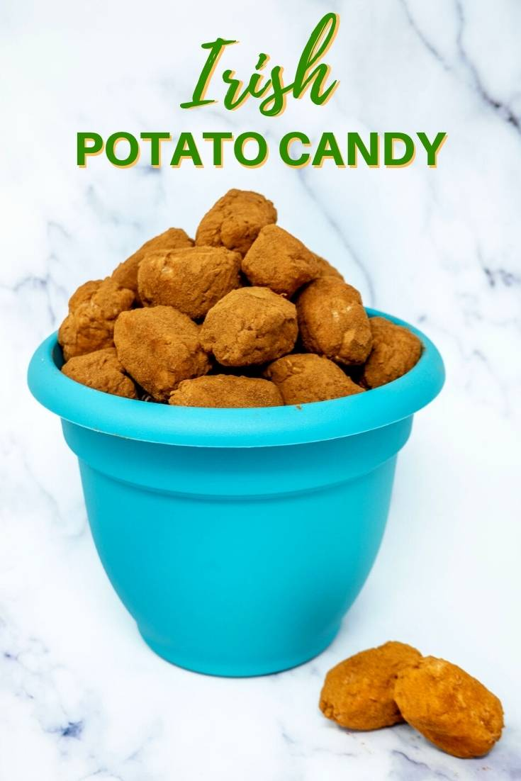 Turquoise pot filled with cinnamon-covered Irish potato candy